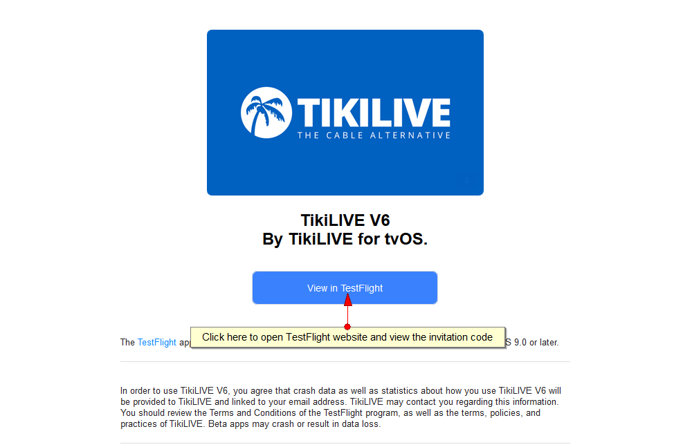 Use TestFlight for Apple TV app | Live Streaming manual V7